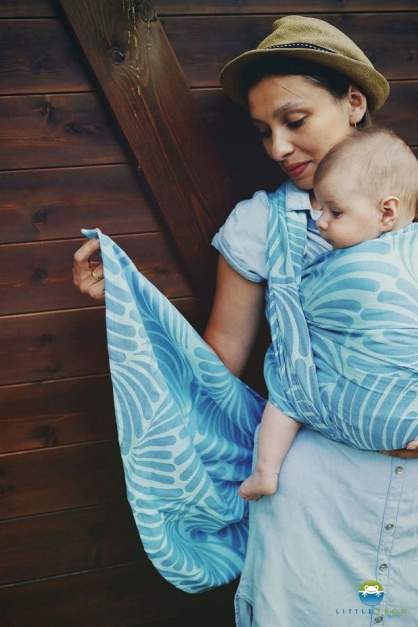 Little Frog jacquard wrap Skyblue Plumes size 6